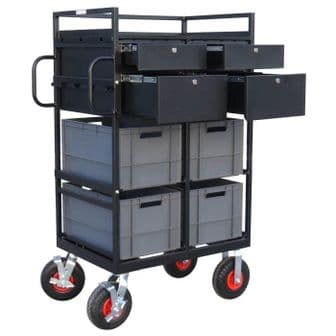 Euro-Crate Trolley with Lockable Drawers