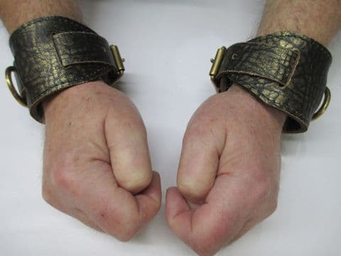 Ancient Pharaoh Distressed Gold Wrist or Ankle Cuffs (Pair)