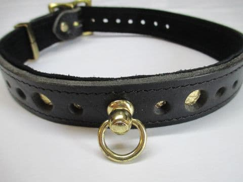 Black leather one inch wide with Gold Metallic leather layer Holed Brass Fittings Collar