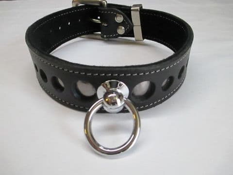 Black leather two inch wide with Anthracite Metallic leather layer Holed Collar