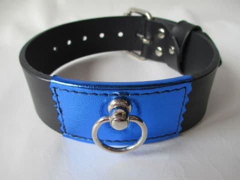 Black leather two inch wide with Blue Metallic leather front Collar