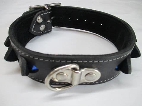 Black leather two inch wide with Blue Metallic leather layer Infinity  Collar