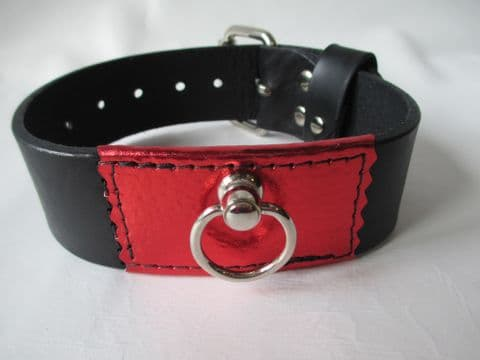 Black leather two inch wide with Red  Metallic leather front Collar