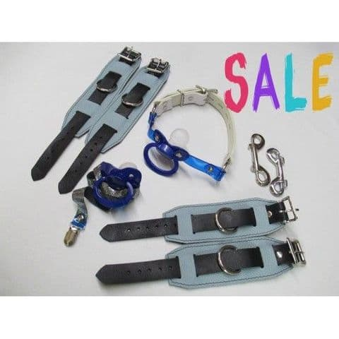 Blues Leather Pacigag, Wrist & Ankle Restraint Cuffs, Large Paci & Holder Strap (Code Z8)