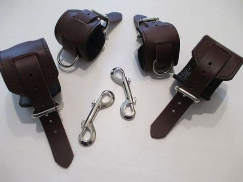Burgundy Leather, Black Leather lined Restraint Cuffs Set (Wrist and Ankles) with trigger hooks