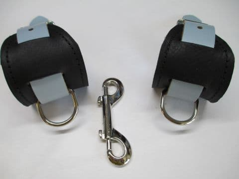 Clearance - Pair of Black/Blue Metallic  Leather Wrist Restraints (AB1)