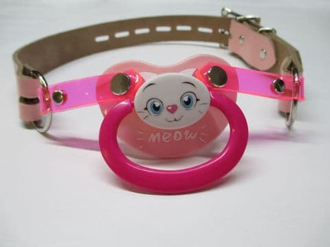 Cute Kitty Design leather Pacigag Featuring a detachable AB Pacifier