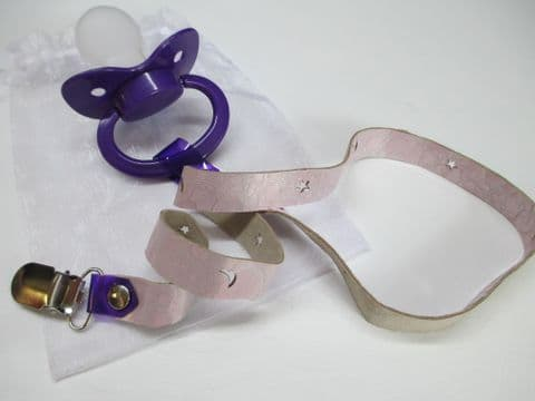 Dark Purple Paci with Baby Pink Crackle Leather Paci Holder Clip Strap