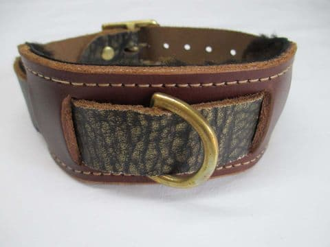 Distressed Gold/Brown Leather Heavy Duty Dingle Dee Slave Collar with Solid Brass Fittings.