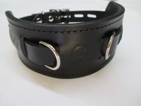 Double Dee Triple Triskel Locking Leather Play Collar