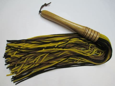 Earth Tri Coloured 3mm Suede Falls Flogger with American Black Walnut Handle