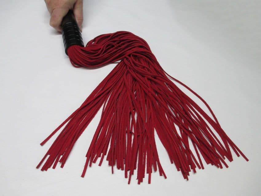 American Black Walnut Wood Handled, 3mm wide Ferrari Red coloured Falls suede Flogger,