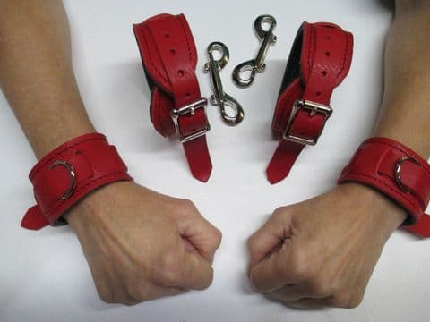 Full leather Slimline Design Wrist and Ankles Restraint set (x4 cuffs)