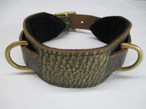 Genuine Distressed Gold Leather Heavy Duty Double Dee Slave Collar with Solid Brass Fittings.