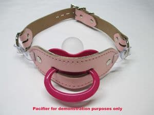 Leather AB/DL Maxi Locking Pacifier Holder Gag