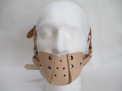 Leather Lockable Asylum Design Head Muzzle Gag