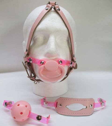 Leather Locking Head Harness Multi Changeable Press Stud Fasten Front Gag