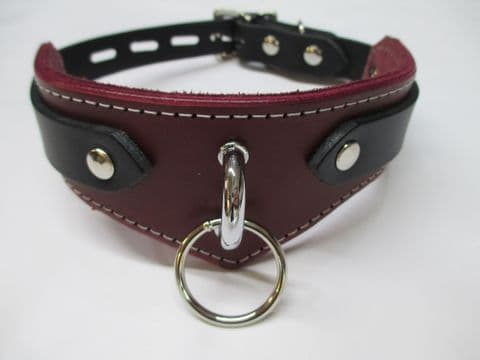"""Leather/Suede lined Omega Bar 1"""" Ring Design Locking Collar"""