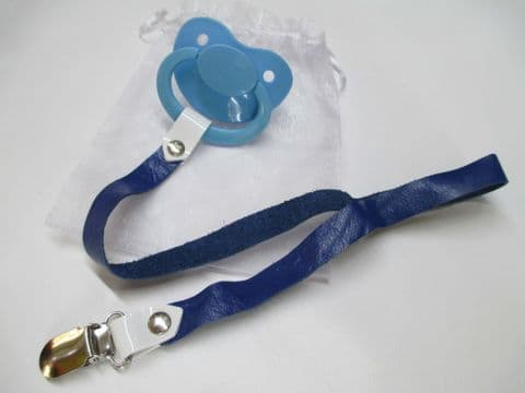 Light Blue Paci with Navy  Blue Leather Paci Holder Clip Strap