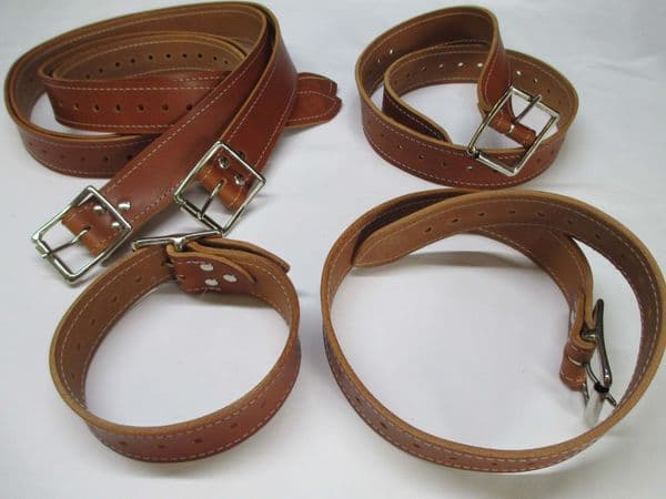 Medical Play London Tan leather Five Body Locking Strap Restraint System