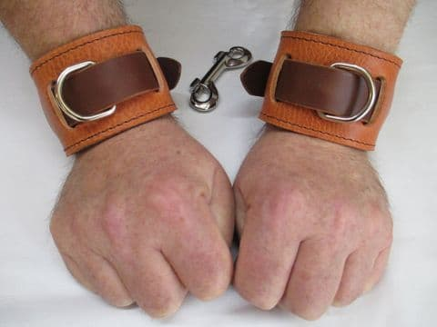 Pair of London Tan/Chocolate Leather Locking Restraint Cuffs  (2 Cuffs)