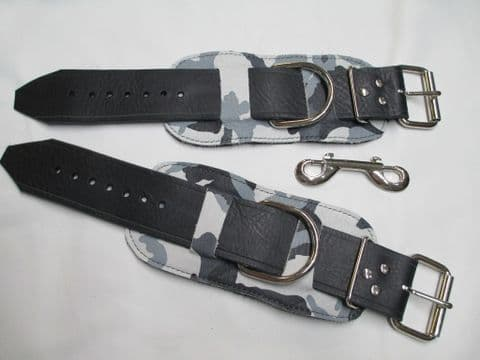Pair of  Wide Fitting Camouflage Leather Restraint Cuffs
