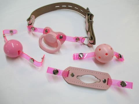 Pink Leather Changeable Front Pink Paci/Breathable ball/Insert/Silicone Ball Gag