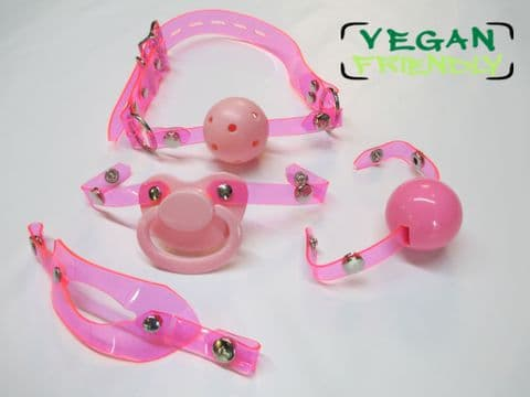 Pink PVC Changeable Front Pink Paci/Breathable ball/Insert/Silicone Ball Locking Gag