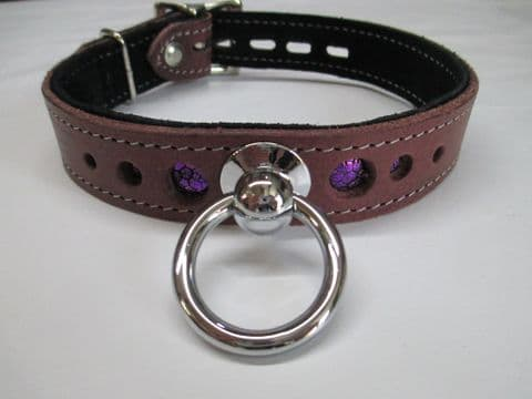 Plum leather one inch wide with Purple Metallic leather layer Holed Locking Collar