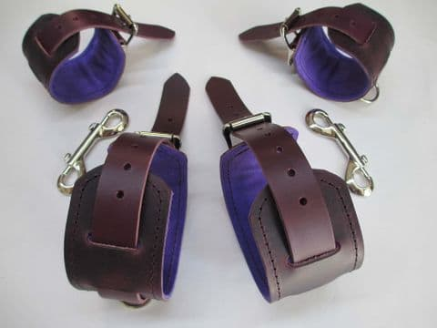 Purple/Black Leather, UV Purple Suede Lined Restraint Cuff Set (For Wrist and Ankles)