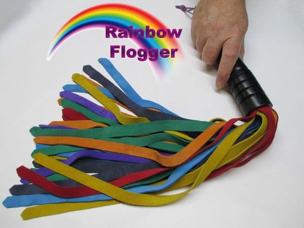 Rainbow Coloured Suede 10mm Wide Falls Flogger in Ebonised English Oak Handle