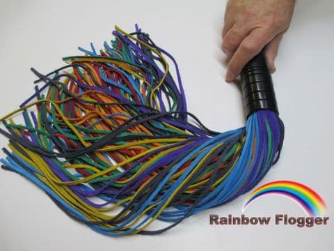 Rainbow Coloured Suede 3mm Wide Falls Ebonised English Oak Flogger