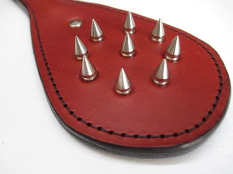 Red Coloured Leather 9 Spike Percussion Paddle