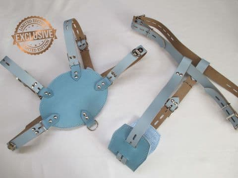 Sky Blue/Baby Blue leather Retro Chest Harness & Diaper Harness Twin Separates Set