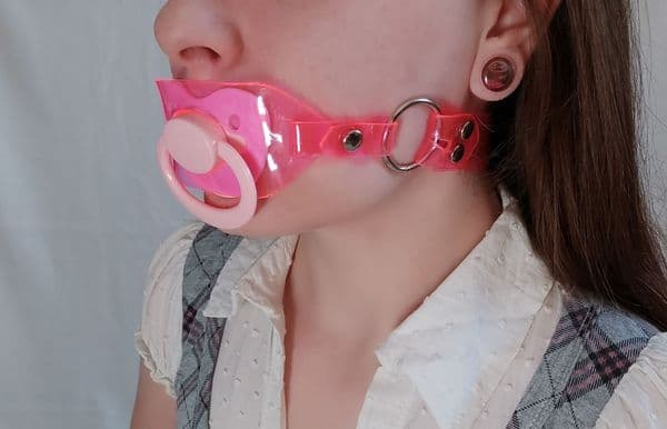 Vegan Friendly AB/DL Mini Design Locking Pacifier Holder Gag and Pacifier