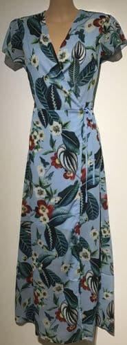 AQUA TROPICAL PRINT WRAP MAXI DRESS BNWT 10