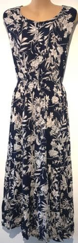 ARISTA NAVY/WHITE FLORAL BUTTONED SUMMER MIDI DRESS BNWT SIZE UK 10/12 & 14/16