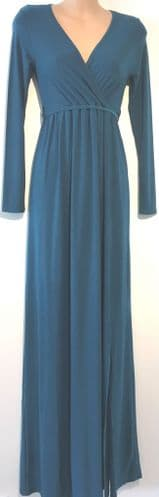 ASOS CLUB L MATERNITY & NURSING TEAL CROSS OVER MAXI DRESS NEW SIZE UK 8 & 12