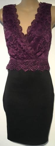 AX PARIS PURPLE LACE OCCASION DRESS BNWT SIZE 8-10
