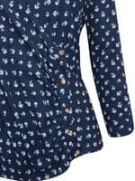 BEACAN COVE NAVY FLORAL WRAP TOP NEW SIZES UK 8 & 14