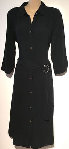 BLACK BELTED BUTTON SHIRT DRESS BNWT SIZES 12 & 14