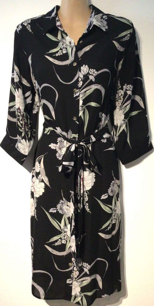 BLACK FLORAL BUTTONED SHIRT DRESS NEW SIZES 12-18