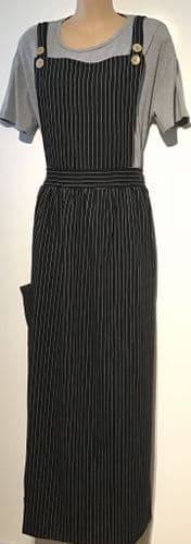 BLACK PINSTRIPE PINAFORE MAXI DRESS BNWT SIZE 8-14