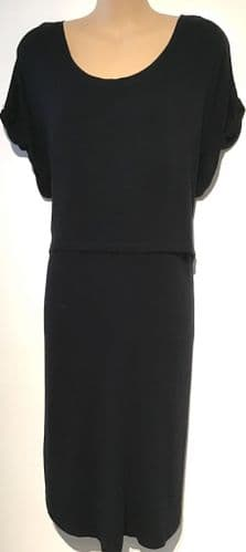 BLOOMING MARVELLOUS BLACK KNEE LENGTH MATERNITY & NURSING DRESS SIZE M 12-14