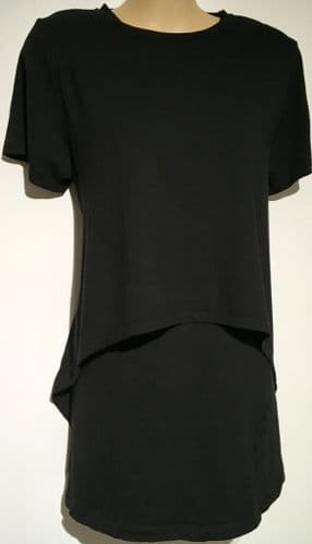 BLOOMING MARVELLOUS BLACK LAYERED TSHIRT NURSING MATERNITY TOP SIZE XL 18-20