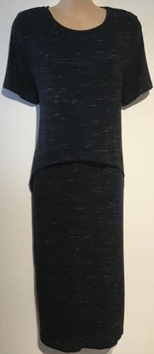 BLOOMING MARVELLOUS BLACK MARLED JERSEY MATERNITY/NURSING DRESS SIZE 10