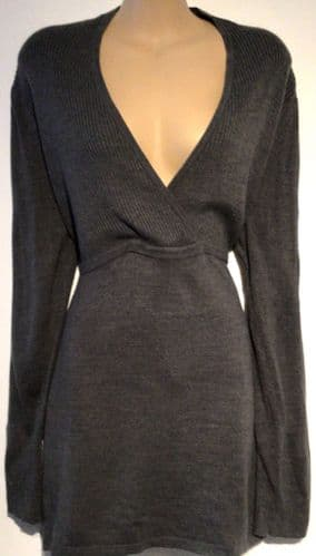 BLOOMING MARVELLOUS GREY WRAP FRONT JUMPER SIZE 18
