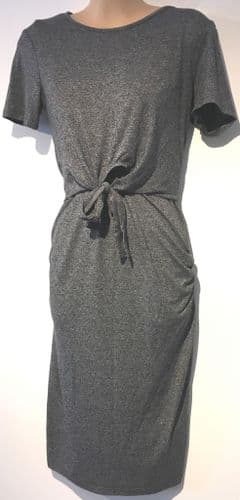 BLOOMING MARVELLOUS MARLED GREY TIE FRONT MATERNITY & NURSING DRESS SIZE 8