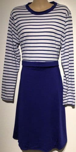 BLUE & WHITE STRIPED NURSING DRESS SIZES L (14) & XL (16)