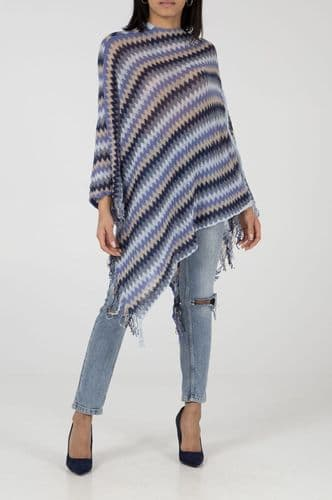 BLUE ZIG ZAG KNITTED PONCHO JUMPER BNWT ONE SIZE 8-18